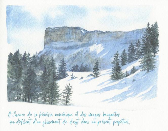 Page intérieure du « Carnet de voyage », de Noëlle Le Guillouzic et Claudie Blanc-Eberhart (Savoie Mont-Blanc Tourisme).