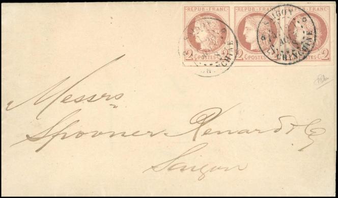 44525 euros pour cette lettre des « colonies générales » de Cochinchine, de Saïgon pour Saïgon...