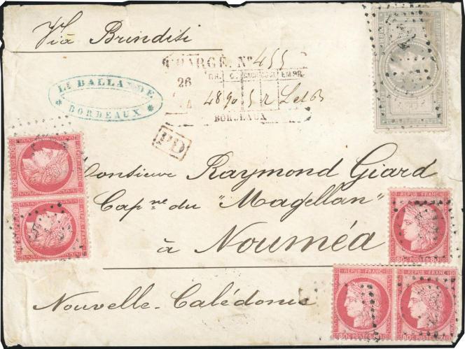 Lettre « chargée » à destination de Nouméa, au départ de Bordeaux en 1874: 57245 euros.