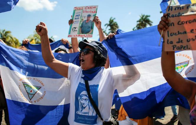 Manifestation contre le gouvernement de Daniel Ortega à Managua, le 25 janvier 2020.