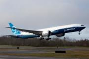 Décollage du Boeing 777X samedi à Everett, aux Etats-Unis.
