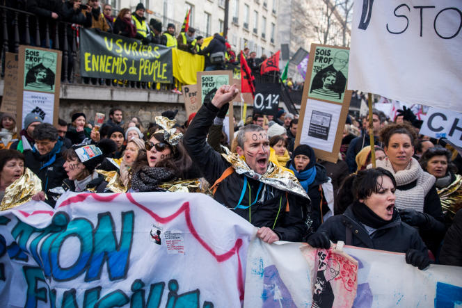 Manifestation contre le projet de réforme des retraites, à Paris, le 24 janvier.