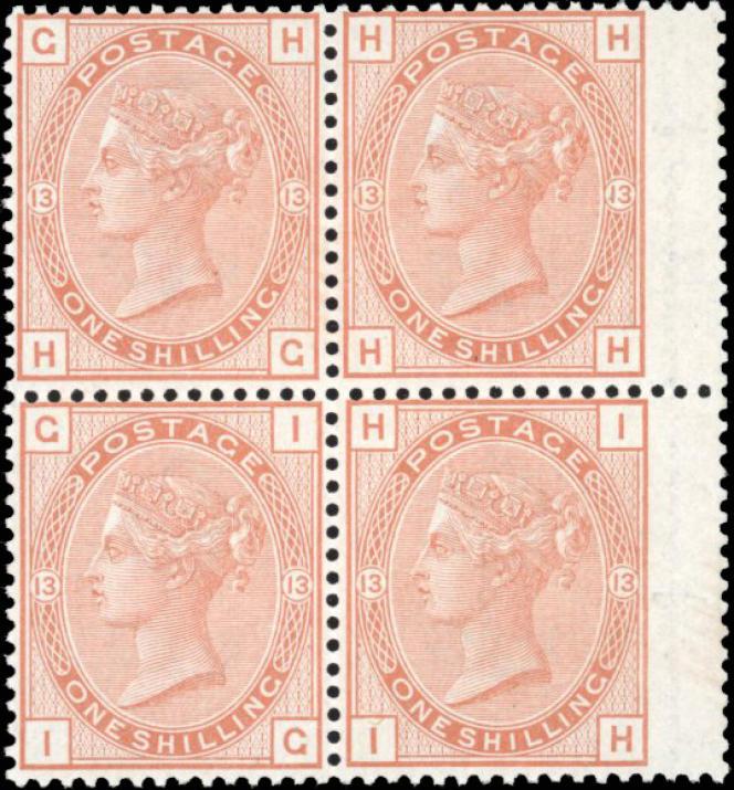 Bloc neuf de quatre exemplaires du 1 shilling orange brun à l'effigie de Victoria de 1880,38836 euros.