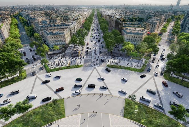 Projet de réaménagement et de « réenchantement » des Champs-Elysées proposé par l'architectePhilippe Chiambaretta.