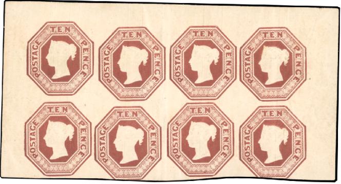 170322 euros décrochés, pour la Grande-Bretagne, par un bloc de huit exemplaires du 10 pence brun de 1854.