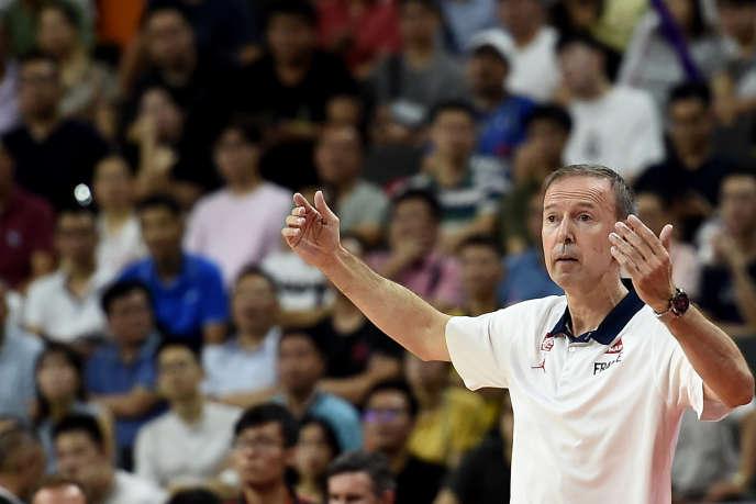 Vincent Collet, lors du quart de finale de Coupe du monde entre la France et les Etats-Unis, le 11 septembre 2019 à Dongguan (Chine).
