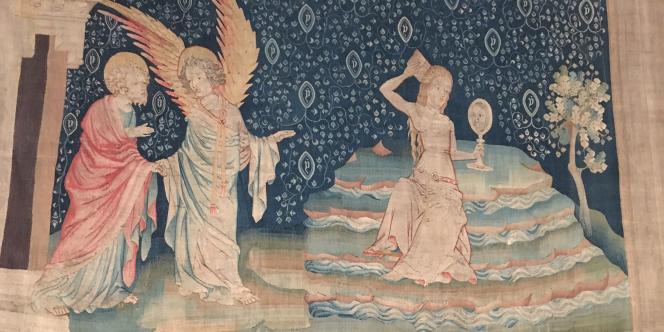 « La Grande Prostituée sur les eaux», détail de la tenture de l'Apocalypse exposée dans le château d'Angers.