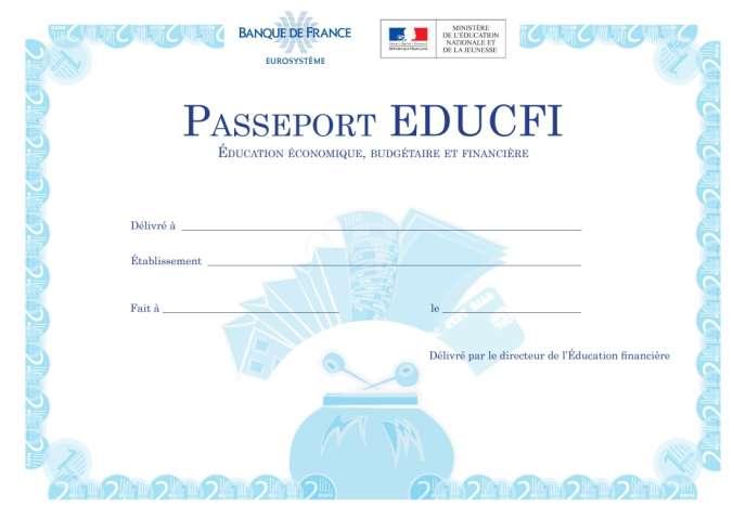 Le« Passeport Educfi», attribué dans certains collèges à titre d'expérimentation.
