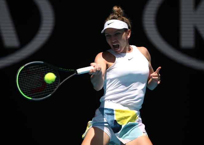 Simona Halep, lors de son huitième de finale contre la Belge Elise Mertens, lundi 27janvier, à Melbourne.
