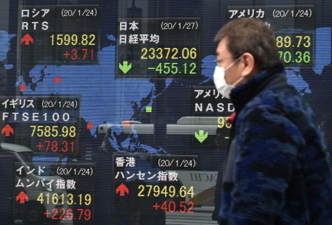 La propagation du coronavirus s'agit d'un sujet de santé publique avant tout, pourtant, la question est incontournable pour les marchés financiers (ici à Tokyo).