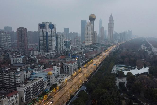 Une vue aérienne de Wuhan prise le 27 janvier, en pleine épidémie de pneumonie causée par un nouveau coronavirus, le 2019-nCov.
