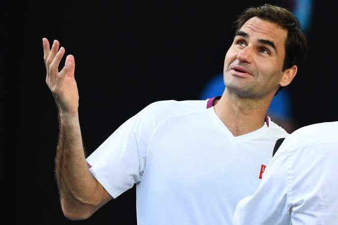 Roger Federer, après sa victoire face à Tennys Sandgren en quarts de finale de l'Open d'Australie, mardi 28 janvier.
