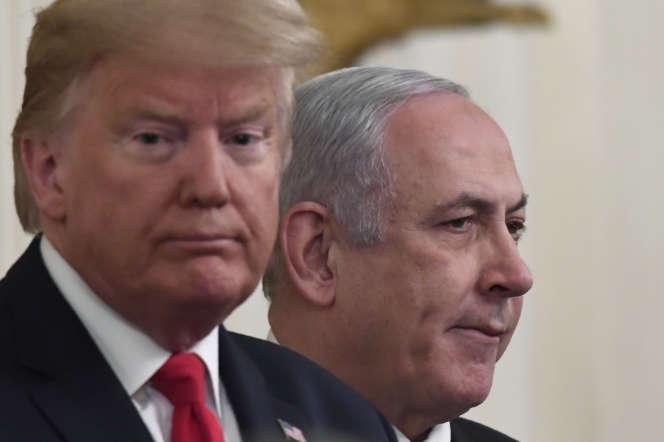 Donald Trump et Benyamin Nétanyahou, à la Maison Blanche, le 28 janvier 2020.
