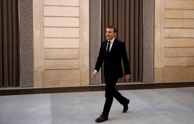 Emmanuel Macron présente ses voeux à la presse au palais de l'Elysée à Paris, le 15 janvier.