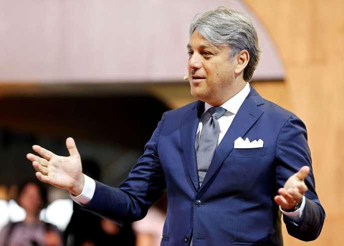 Luca de Meo, alors patron de SEAT, lors du Salon international de l'automobile de Genève, en Suisse, le 5 mars 2019.