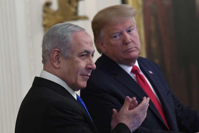 Benyamin Nétanyahou etDonald Trump, lors de la présentation du plan de« paix» américain à la Maison Blanche, à Washington, le 28 janvier.