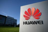 Devant le siège de l'équipementier chinois Huawei à Reading, à l'ouest de Londres, le 28 janvier.