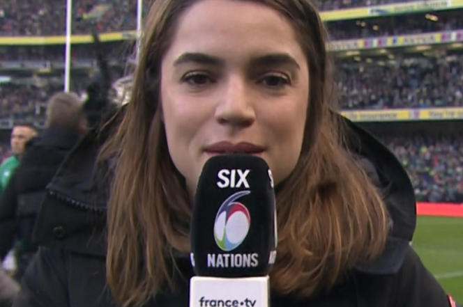 Cécile Grès, visage du bord de terrain du Tournoi des six nations masculin 2020 sur France 2.