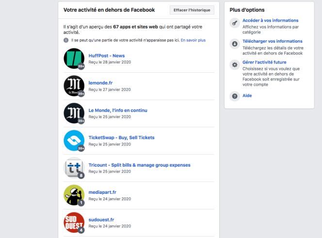 Les entreprises récoltant des données en ligne et les communiquant à Facebook apparaissent désormais dans une page dédiée, avec différentes options pour supprimer son historique.