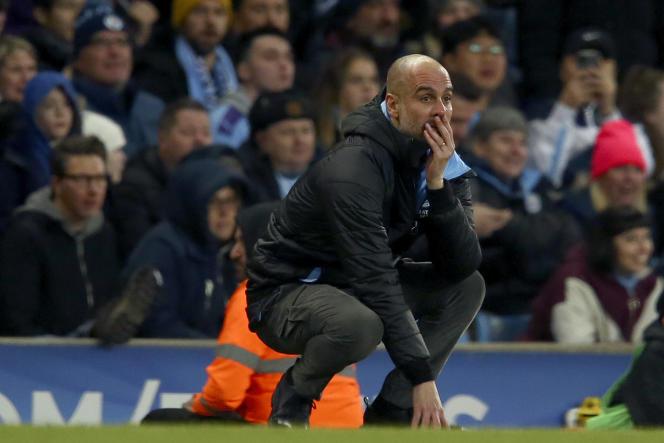 L'entraîneur de Manchester City Pep Guardiola, face à Manchester United, le 29 janvier.