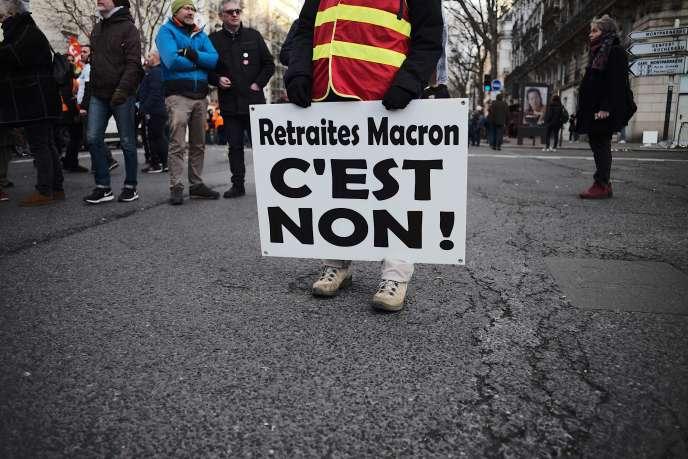 Manifestation contre la réforme des retraites à Paris, le 29 janvier.