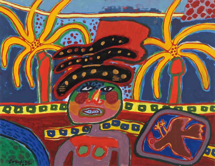 « A la fin des années 1960, Corneille renoue avec la figuration. Il utilise des couleurs très vives. Cette féerie de couleurs lui est inspirée par la végétation tropicale qu'il découvre lors de nouveaux voyages au Brésil, à Cuba et au Mexique. »