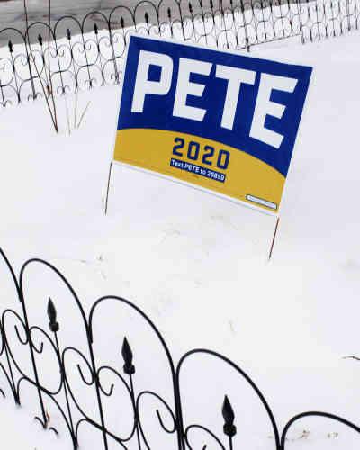 Une pancarte de soutien au candidat Pete Buttigieg à Des Moines, le 25 janvier.
