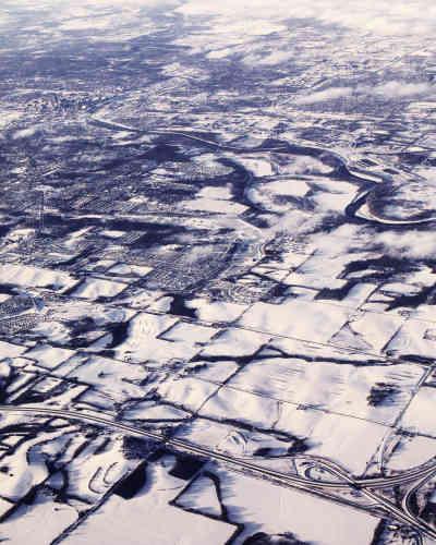 Vue aérienne de Des Moines, la capitale de l'Iowa, le 25 janvier. Jugé trop rural, trop blanc, trop froid, cet Etat est pourtant le premier à voter pour la primaires démocrate.