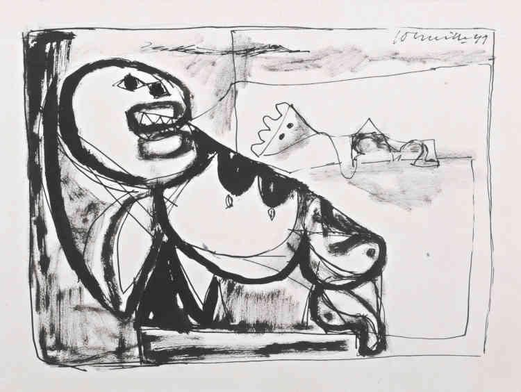«En 1947, à Budapest, Corneille découvre la poésie surréaliste et la peinture de Paul Klee et de Joan Miró. Ces découvertes sont pour lui une révélation. Désormais, il donne libre cours à son imagination et représente un monde imaginaire, telle cette scène de maternité inspirée de ses rêves et de l'inconscient.»