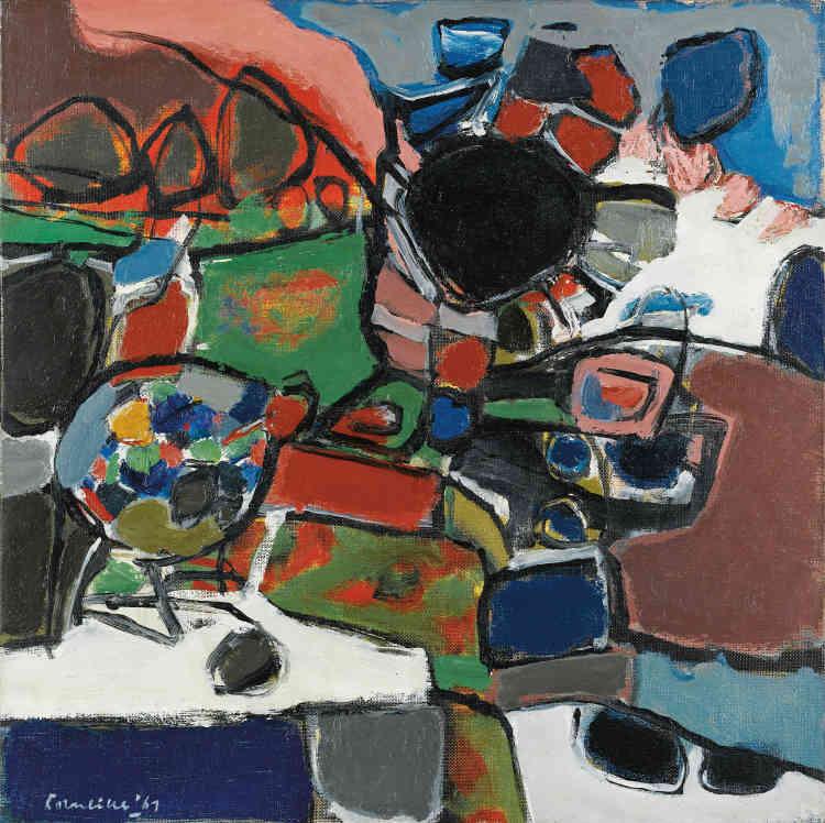 """«Corneille exprime dans ses œuvres abstraites l'émotion ressentie devant la matérialité vivante de la terre qui le fascine. """"Pays breton"""" (1961) restitue le souvenir des paysages de Bretagne qu'il a observés lors de son séjour à Beg-Meil au cours de l'été 1960.»"""