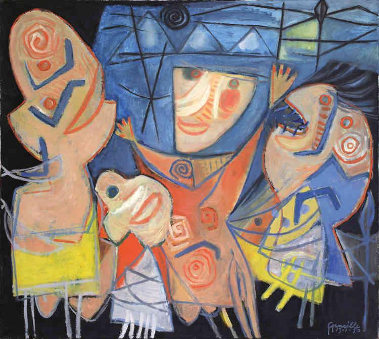 """«Entre 1948 et 1951, Corneille prend activement part à la vie du groupe Cobra, qui revendique une nouvelle liberté artistique. Il adopte un style enfantin. Il met en scène des personnages fantastiques qui semblent jaillis d'un rêve telle une fête imaginaire, comme l'illustre particulièrement """"Fête nocturneréalisée"""" en 1950.»"""