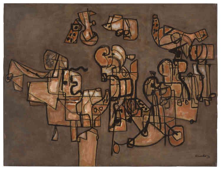 «Au début des années 1950, le style plus structuré des œuvres de Corneille s'inspire de ses nouveaux voyages en Afrique et notamment des motifs géométriques des sacs des Touaregs qu'il a observés et ramenés de ses séjours en Algérie et dans le désert du Hoggar.»