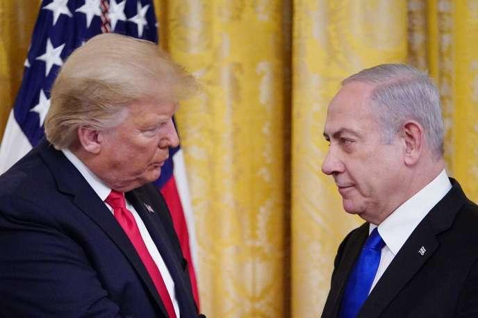 Le président américain Donald Trump et le premier ministre israélienBenyamin Nétanyahou, à Washington, le 28 janvier.