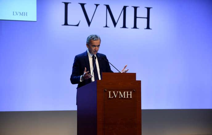 Bernard Arnault, PDG d e LVMH, lors de la présentation des résultats 2019 du groupe, à Paris, mardi 28 janvier.