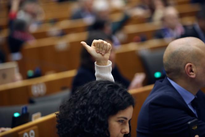 L'eurodéputée française Manon Aubry au moment du vote au Parlement européen, le 29 janvier.