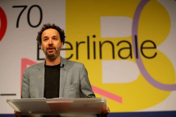 Le nouveau directeur artistique Carlo Chatrian lors de la conférence de presse de la 70e édition de la Berlinale, à Berlin, le 29 janvier 2020.