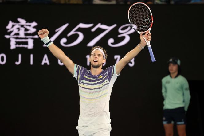 L'Autrichien Dominic Thiem célèbre sa victoire en quarts de finale sur Rafael Nadal mercredi 29 janvier à Melbourne.