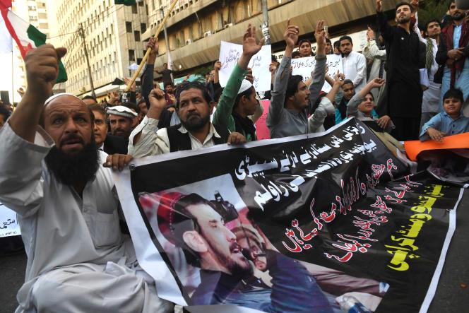 Manifestation pour demander la libération de Manzoor Pashteen, à Karachi, le 28 janvier 2020.