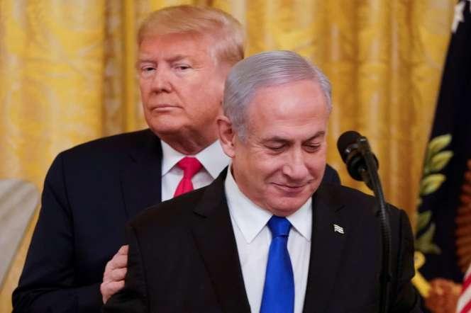 Donald Trump et Benyamin Nétanyahou à la Maison Blanche à Washington, le 28 janvier.