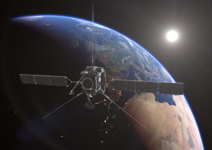 Vue d'artiste de Solar Orbiter faisant un survol de la Terre.