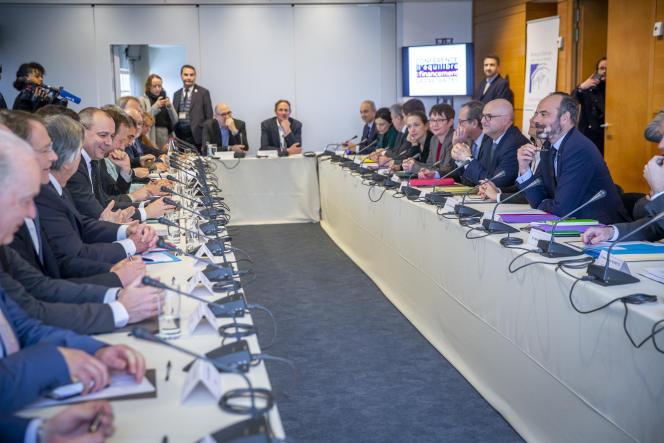 Lor sde la première réunion de la conférence de financement des retraites au Conseil économique, social et environnemental, à Paris, le 30 janvier 2020.