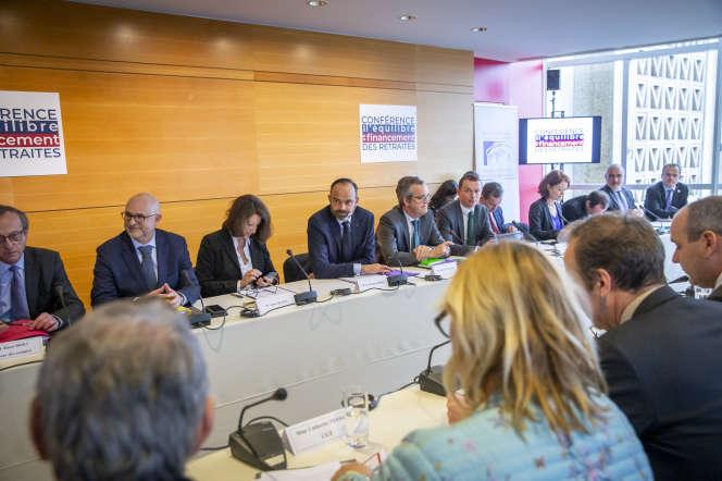 Lors de la première réunion de la conférence de financement des retraites au CESE, à Paris, jeudi 30 janvier 2020.