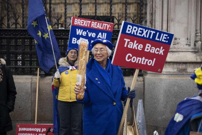Lynne Hall (83 ans), le 30 janvier de Richmond, à l'ouest de Londres. Elle fait campagne contre le Brexit devant le Parlement britannique depuis deux ans et demi.