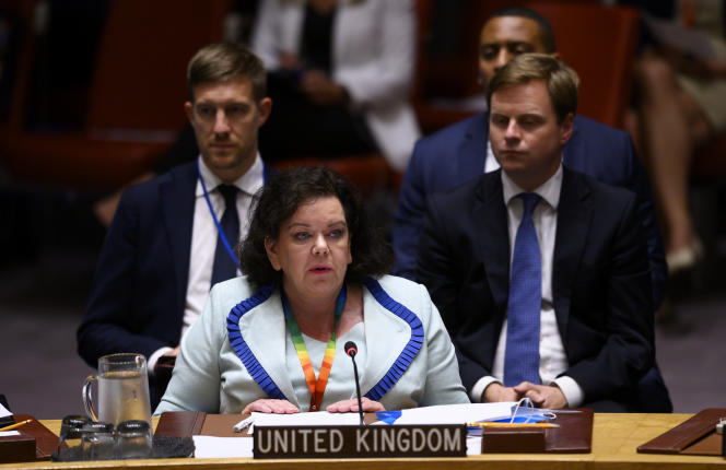 Karen Pierce (ici au Conseil de sécurité de l'ONU, le 20 août 2020), ambassadrice britannique auprès de l'ONU, pourrait quitter ses fonctions pour aller à Washington.