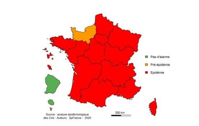 Niveau d'alerte pour la grippe par région pour la semaine du20 au26janvier2020.