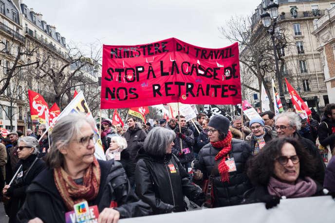 Mobilisation interprofessionnelle contre la réforme des retraites, à Paris, le 29 janvier.