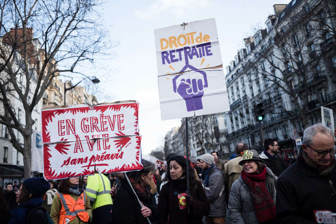Lors de la huitième journée de mobilisation interprofessionnelle contre la réforme des retraites,le 29janvier2020.
