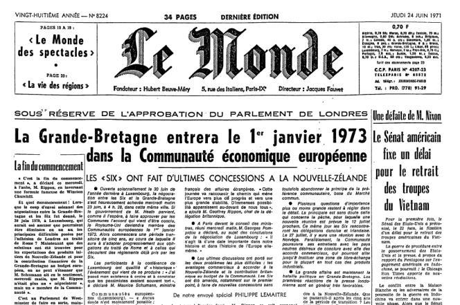 La « une » du « Monde » du 24 juin 1971.