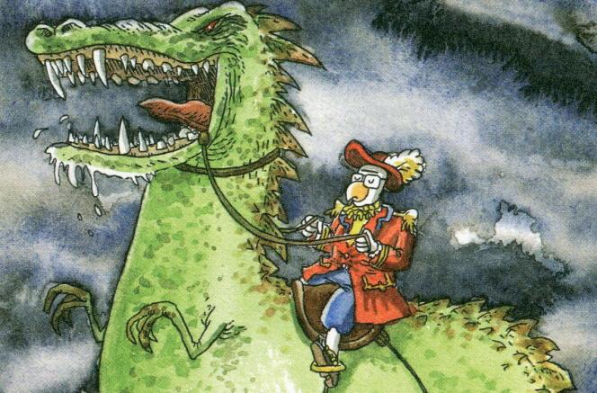 Trondheim chevauchant un dinosaure. Extrait de «La Malédiction du parapluie» («Les Petits Riens», tome 1).