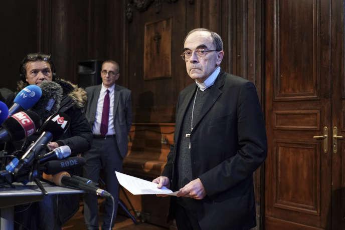 Le cardinal Philippe Barbarin lors d'une conférence de presse à l'issue de sa relaxe en appel, à Lyon, le 30 janvier.